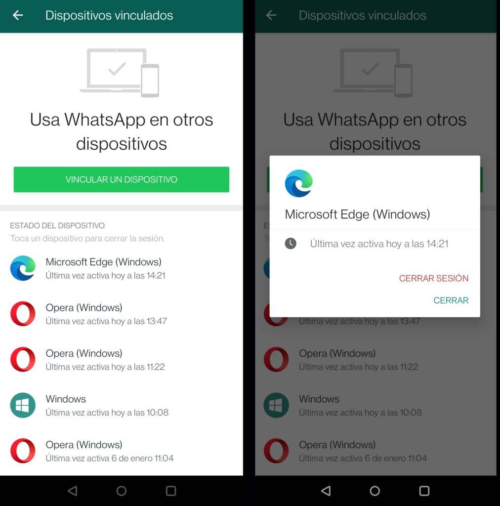 Desconectar sesión en WhatsApp Web
